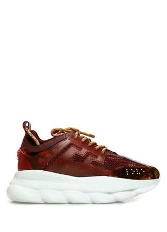 Versace Erkek Bordo Kadife Detaylı Sneaker Kırmızı 43 R