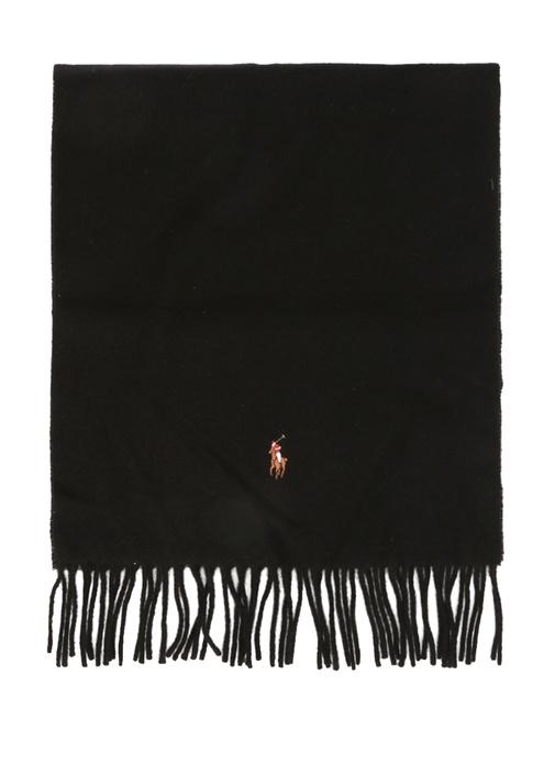 Siyah Logo Nakışlı Erkek Yün Atkı
