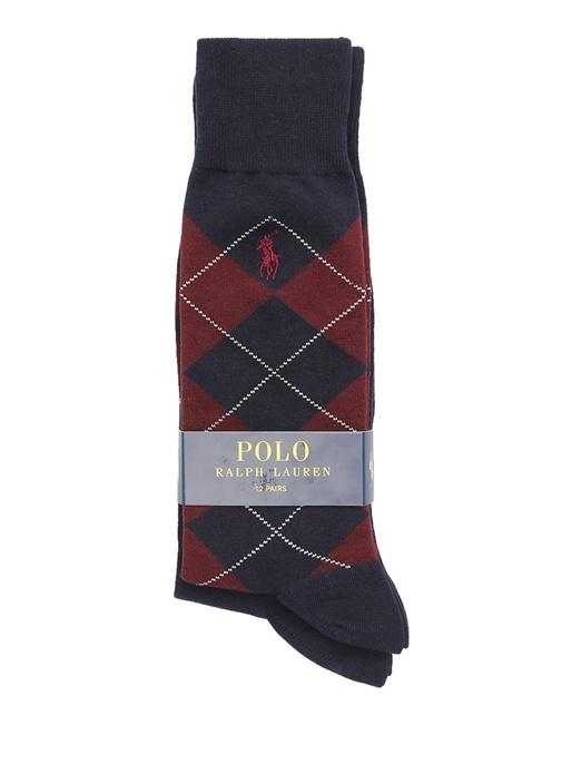 Bordo Lacivert Logolu 2li Erkek Çorap Seti