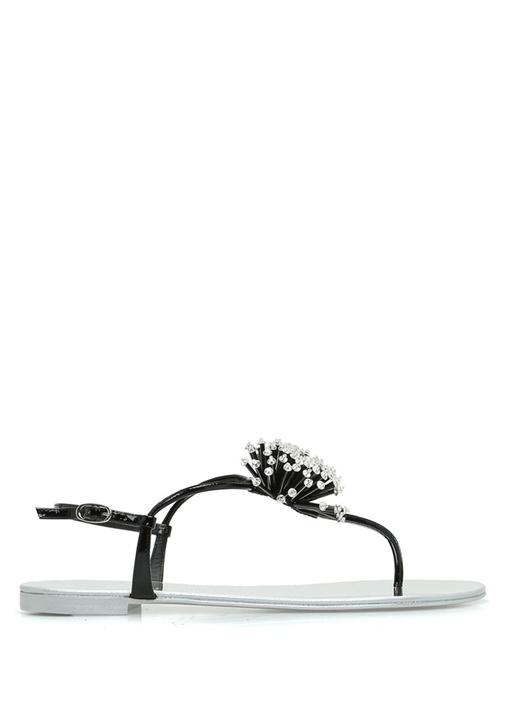 Silver Siyah Taşlı Boncuk İşlemeli Kadın Sandalet