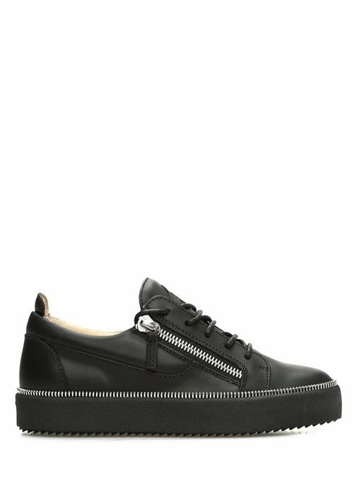 Siyah Fermuar Detaylı Kadın Deri Sneaker