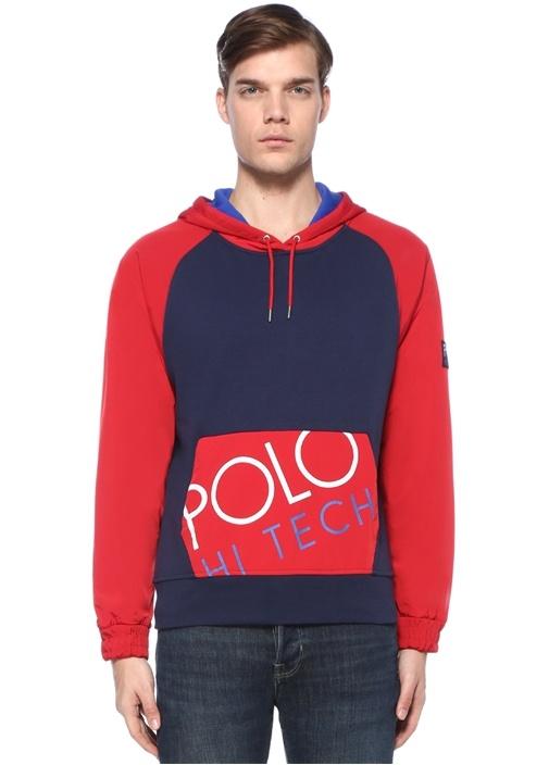 Hi Tech Kırmızı Lacivert Kapüşonlu Sweatshirt