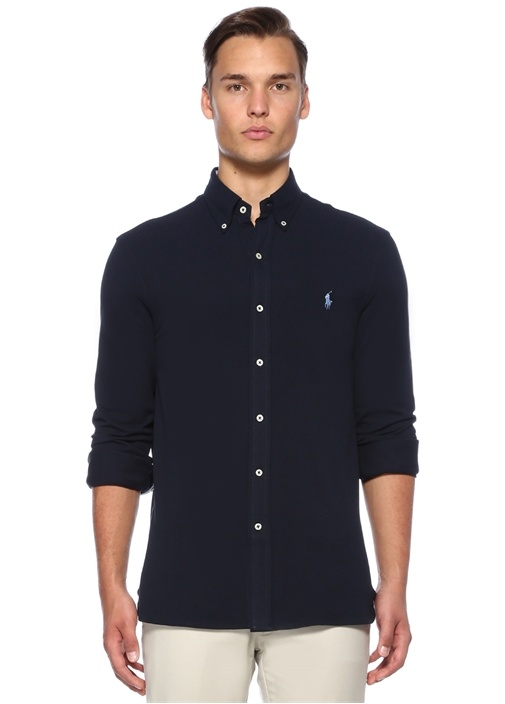 Lacivert Logo Nakışlı Oxford Gömlek