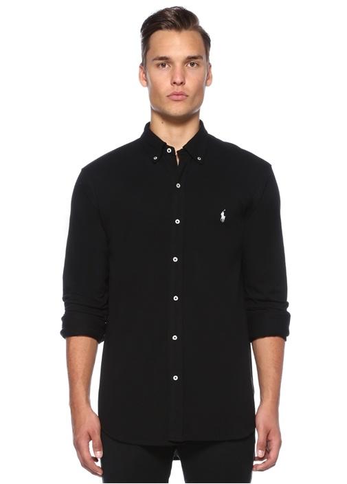 Siyah Logo Nakışlı Oxford Gömlek