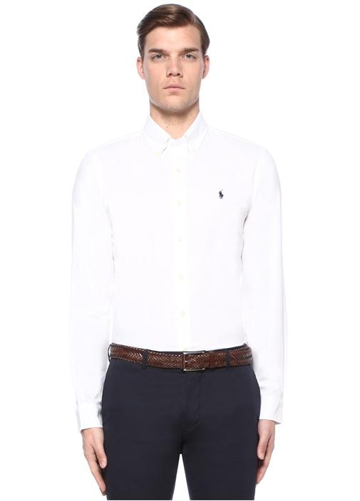 Beyaz Logo Nakışlı Dokulu Gömlek