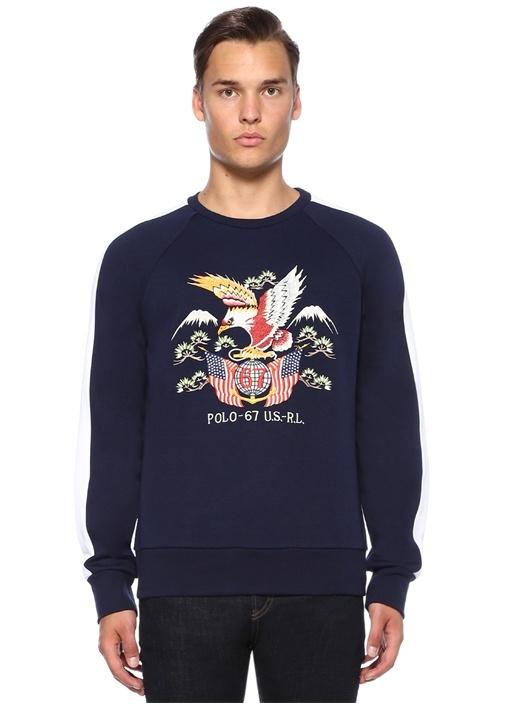 Lacivert Nakışlı Şerit Detaylı Sweatshirt