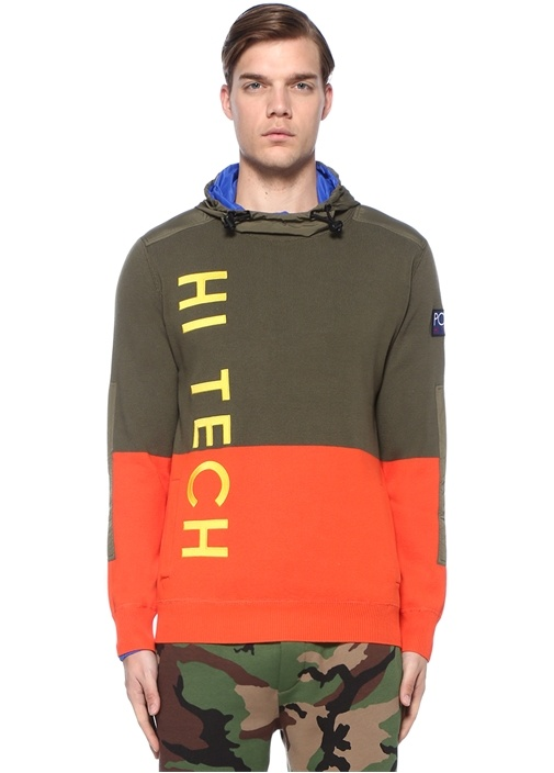 Hi Tech Kapüşonlu Colorblocked Dokulu Sweatshirt