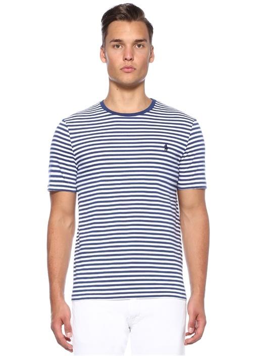 Custom Slim Fit Çizgili Basic T-shirt