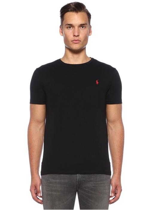 Custom Slim Fit Siyah Logo Nakışlı Basic T-shirt