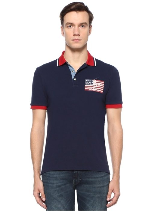 Custom Slim Fit Lacivert Polo Yaka T-shirt