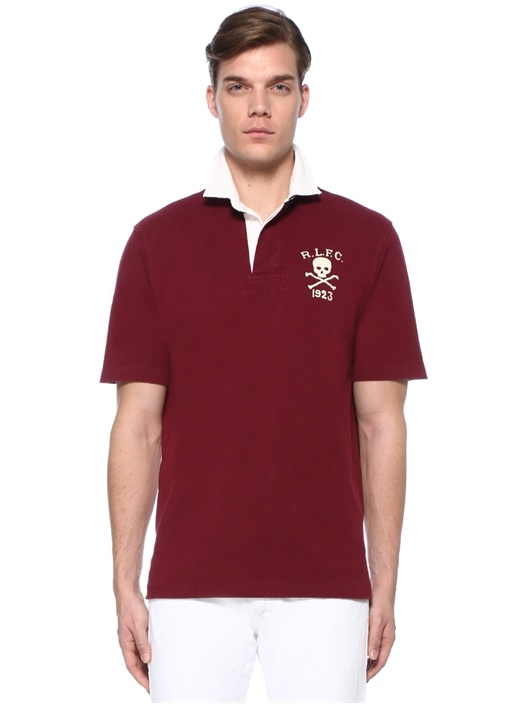 Klasik Fit Bordo Nakışlı Polo Yaka T-shirt