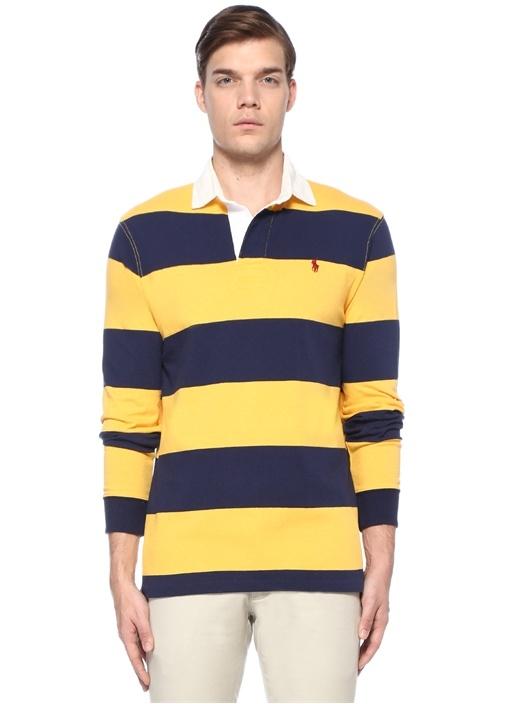 Rugby Sarı Lacivert Polo Yaka Çizgili Sweatshirt