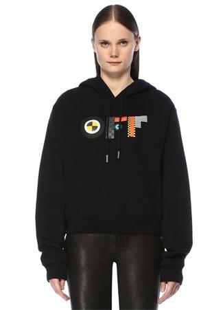 Off-White Kadın Siyah Kapüşonlu Baskılı Sweatshirt L