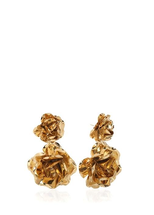 Gold Çiçek Formlu Kadın Küpe