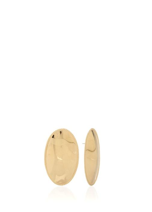 Gold Oval Formlu Kadın Küpe
