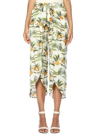 Limonada Beyaz Çiçekli Bağcıklı Crop Pantolon