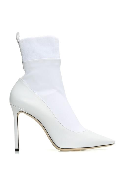 Brandon Beyaz Çorap Formlu Kadın Deri Bot