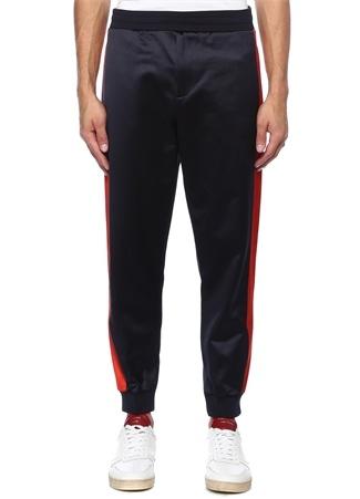 Erkek Lacivert Kenarları Şeritli Dar Paça Pantolon M EU