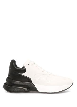 Siyah Beyaz Çift Renk Detaylı Erkek Deri Ayakkabı