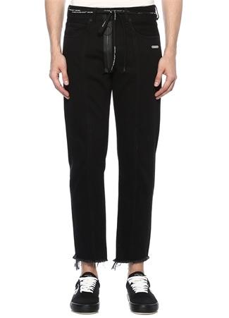 Cropped Fit Siyah Boru Paça Jean Pantolon