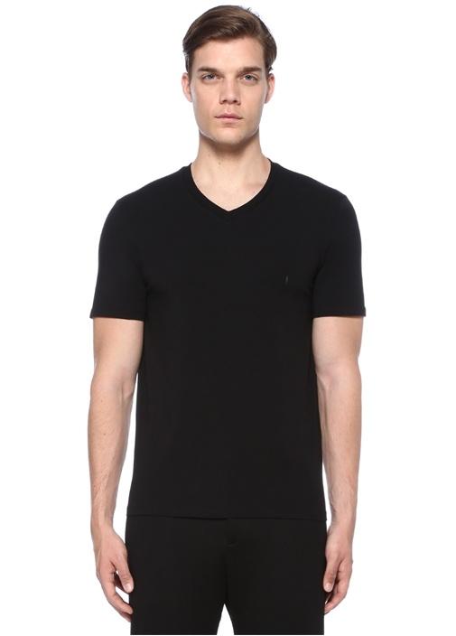 Regular Slim Fit Siyah Basic T-shirt