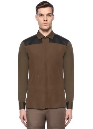 Haki Siyah İngiliz Yaka Garni Detaylı Gömlek