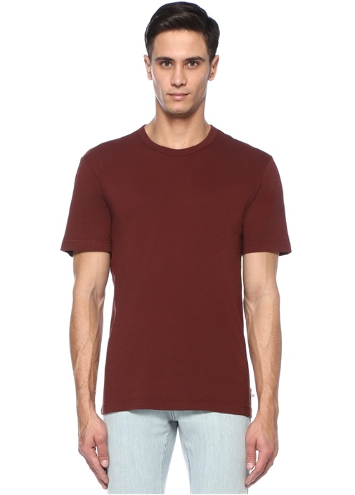 Kahverengi Bisiklet Yaka T-shirt
