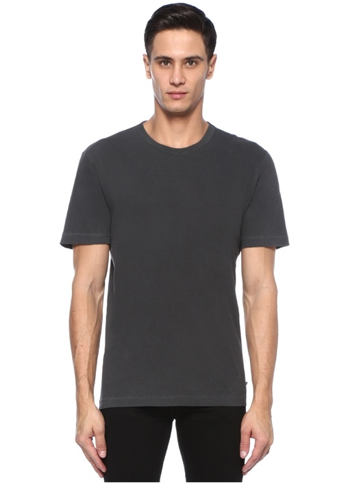 Antrasit Bisiklet Yaka Basic T-shirt