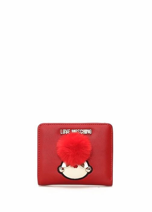 Kırmızı Nakışlı Ponponlu Kadın Cüzdan