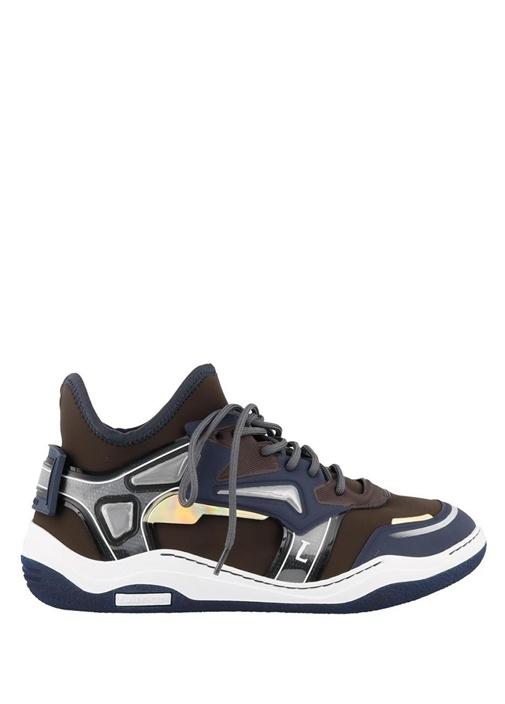 Kahverengi Metalik Renk Detaylı Erkek Deri Sneaker