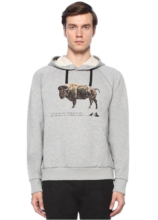 Gri Kapüşonlu Hayvan Baskılı Sweatshirt
