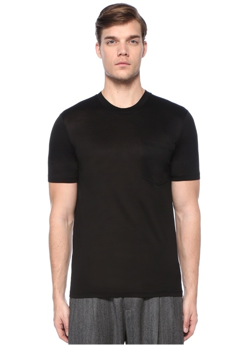 Slim Fit Siyah Basic T-shirt