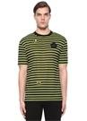 Siyah Neon Sarı Çizgili Patchli Basic T-shirt