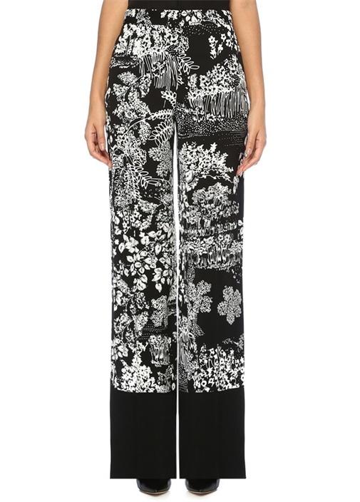 Siyah Beyaz Yüksek Bel Botanik Desenli Pantolon