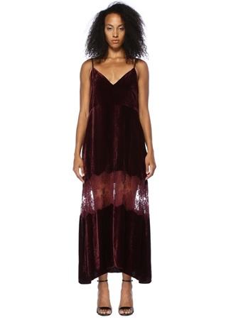 Stella McCartney Kadın Bordo V Yaka Dantelli Midi Kadife Elbise 40 I (IALY)