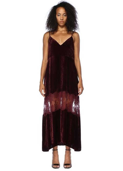 Bordo V Yaka Dantelli Midi Kadife Elbise