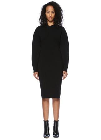 Stella McCartney Kadın Siyah V Yaka Düşük Kollu Midi riko Elbise 42 I (IALY)