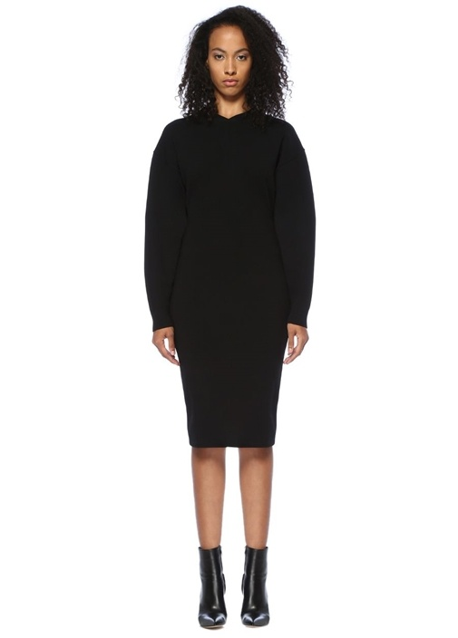 Siyah V Yaka Düşük Kollu Midi Triko Elbise