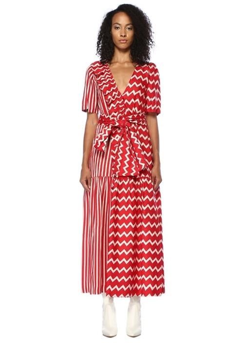 Gabrielle Kırmızı Beyaz Maksi İpek Elbise