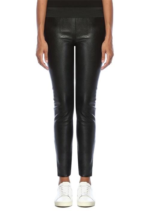 Darcelle Siyah Önü Deri Detaylı Dar Paça Pantolon