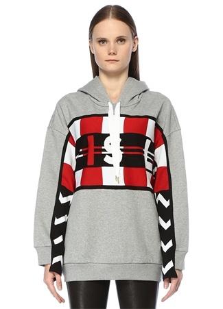 Stella McCartney Kadın Gri Kapüşonlu Yazılı Şeritli Oversize Sweatshirt 38 I (IALY)