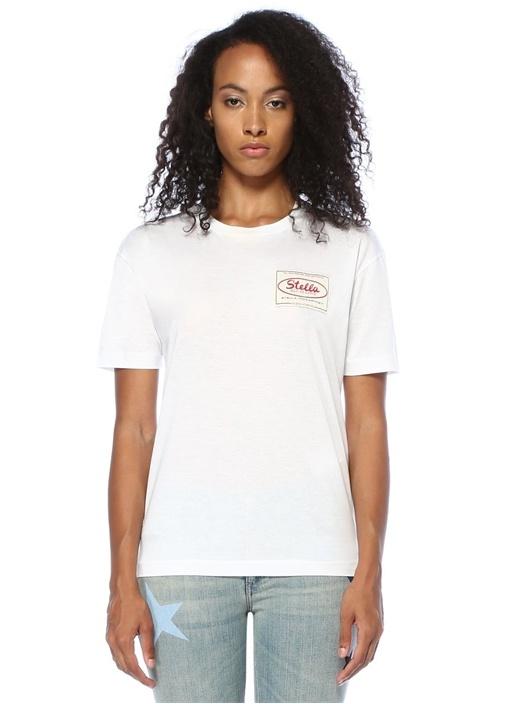 Beyaz Logo Patchli T-shirt