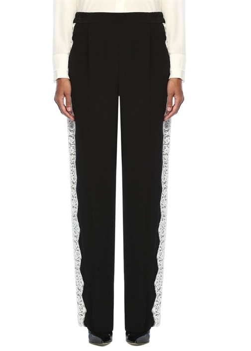 Siyah Yüksek Bel Dantelli Şeritli İpek Pantolon