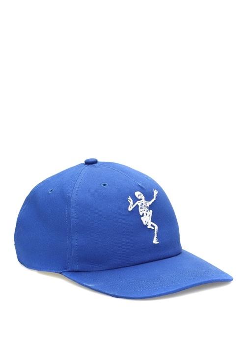 Lacivert İskelet Nakışlı Erkek Şapka