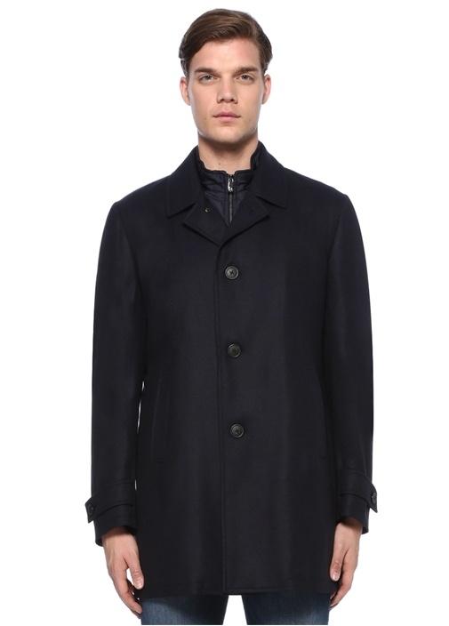 Drop 7 Lacivert Yaka Detaylı Yün Palto