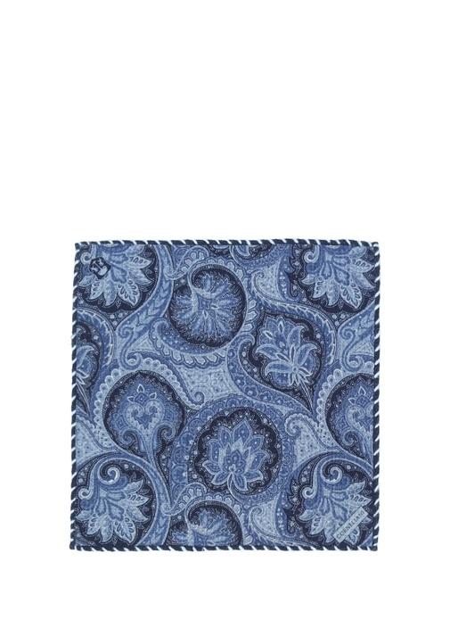 Mavi Şal Desenli Yün Poşet Mendil