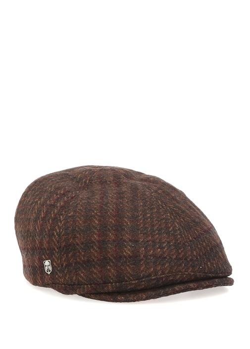 Kahverengi Desenli Erkek Yün Kasket Şapka