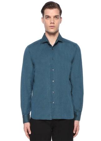 197e0e8e316f4 Corneliani Id Erkek Yeşil İngiliz Yaka Düğme Kapatmalı Gömlek Mavi 41 I  (IALY)