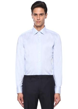 Drop 2 Beyaz Mavi Çizgili Kesik Yaka Gömlek