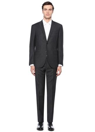 Drop 7 Gri Çizgi Desenli Yün Takım Elbise